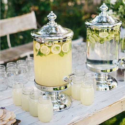 Glass decanter and mason jars for serving